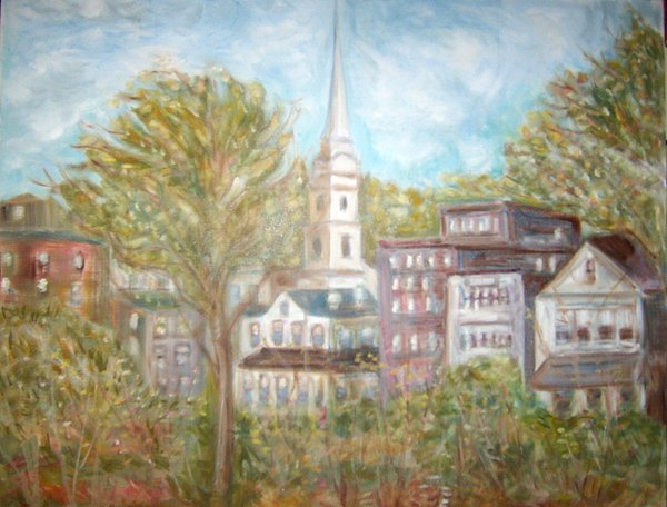Church In Camden  Maine Painting by Joseph Sandora Jr