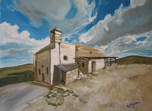 Galilee Painting - Church In Iqrit by Marwan  Khayat