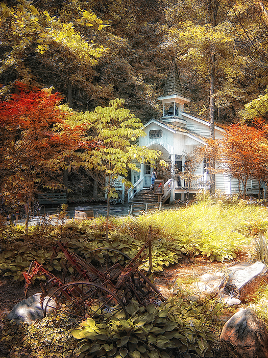 Autumn Photograph - Church In The Woods by Gina Cormier