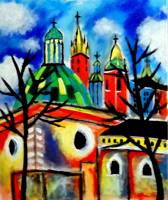 St Adalbert   Rynek Glowny  Krakow Churches Painting - Church Of St. Adalbert by Ted Hebbler