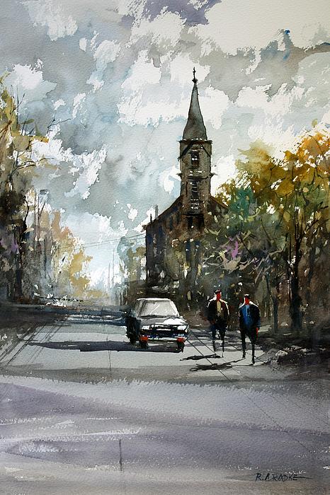 Street Scene Painting - Church On The Hill by Ryan Radke