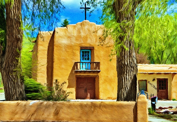 Chapel Painting - Church With Blue Door by Jeff Kolker