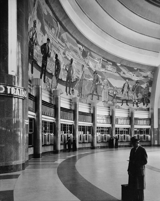 1970s Photograph - Cincinnati Union Terminal, Mural by Everett
