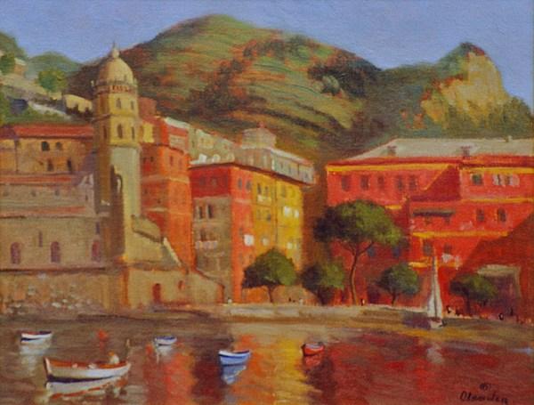 Land Scape Painting - Cinqua Terra Italian Fishing Village by David Olander