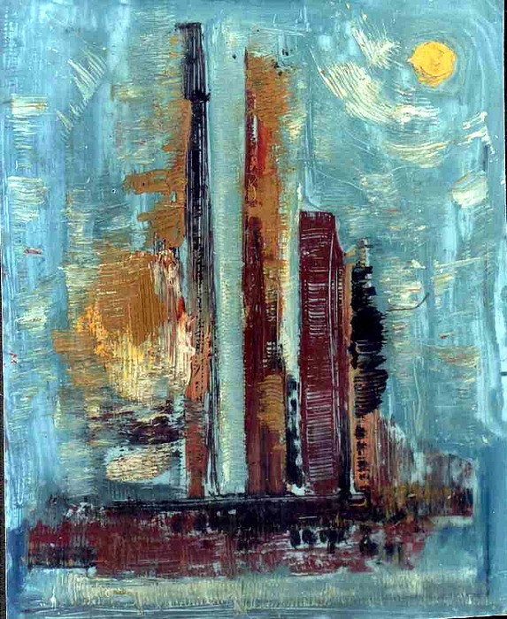 Abstract Paintings Painting - City Abstraction by Anand Swaroop Manchiraju