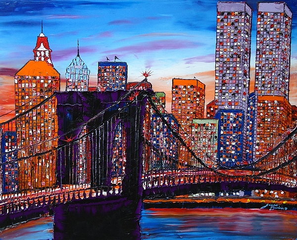 City lights over brooklyn bridge twin towers painting by portland city lights over brooklyn bridge twin towers painting by portland art creations aloadofball Gallery