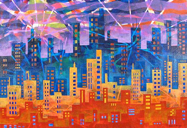 Landscape Painting - City Lights by Rollin Kocsis