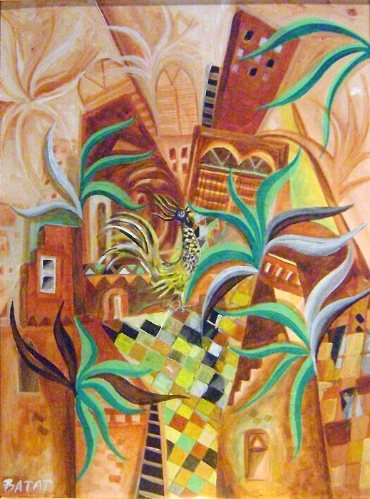 Abstract Painting - City With Rooster by Yahya Batat