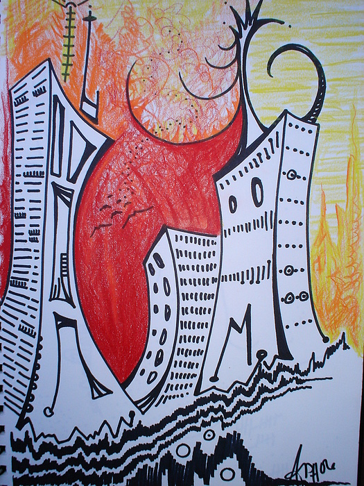Cityscape IIi Drawing by Amanda Prairiewind Hess