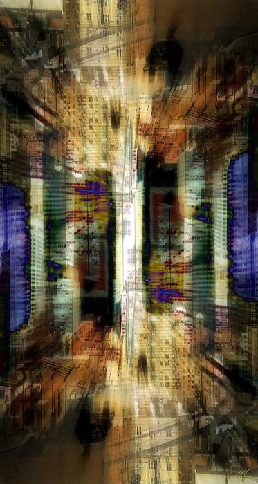 Abstract Digital Art - Cityscape by Kenneth Armand Johnson