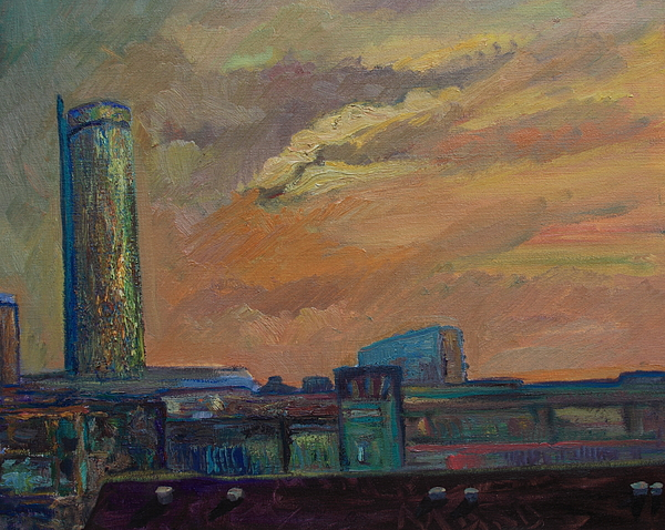 Oil Painting Painting - Cityscape With Tower by Maris Salmins