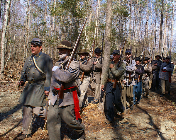 Civil War Photograph - Civil War Soldiers March Through Woods by Rodger Whitney