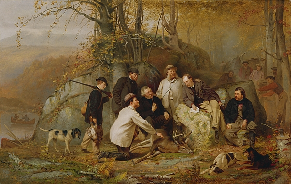 Claiming Painting - Claiming The Shot - After The Hunt In The Adirondacks by John George Brown