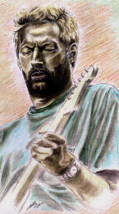 Blues Poster Drawing - Clapton by Kathleen Kelly Thompson