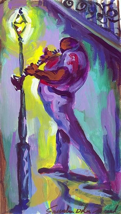 Clarenet Painting - Clarenet And Lamp Post by Saundra Bolen Samuel