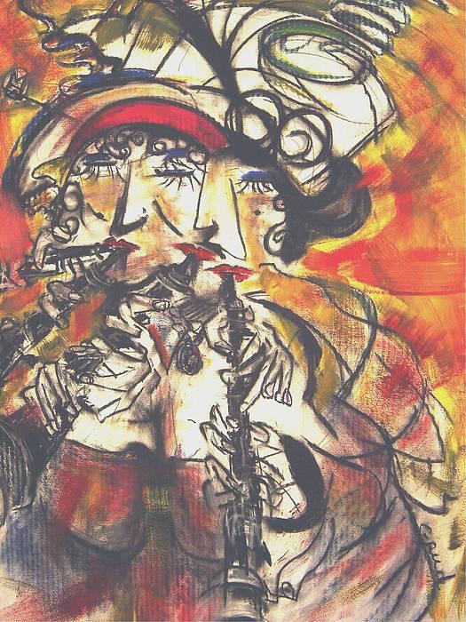 Women Painting - Clarenet by David Grudniski