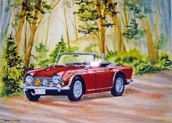 Tr4 Painting - Classic-car by Nancy Newman