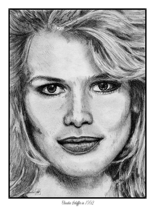 Claudia Schiffer Drawing - Claudia Schiffer In 1992 by J McCombie