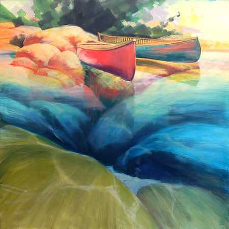 Canoes Painting - Clearwater - I by Ken Campbell
