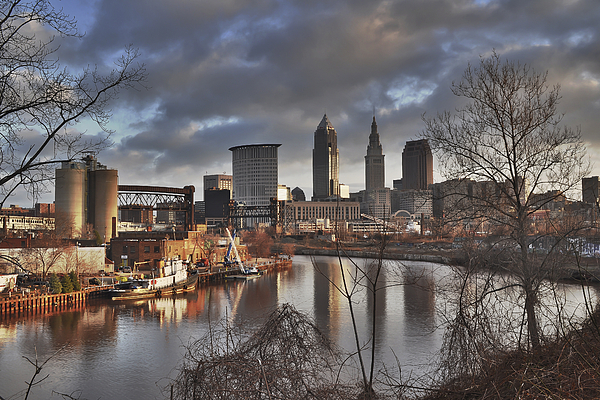 2x3 Photograph - Cleveland Skyline From The River - Morning Light by At Lands End Photography
