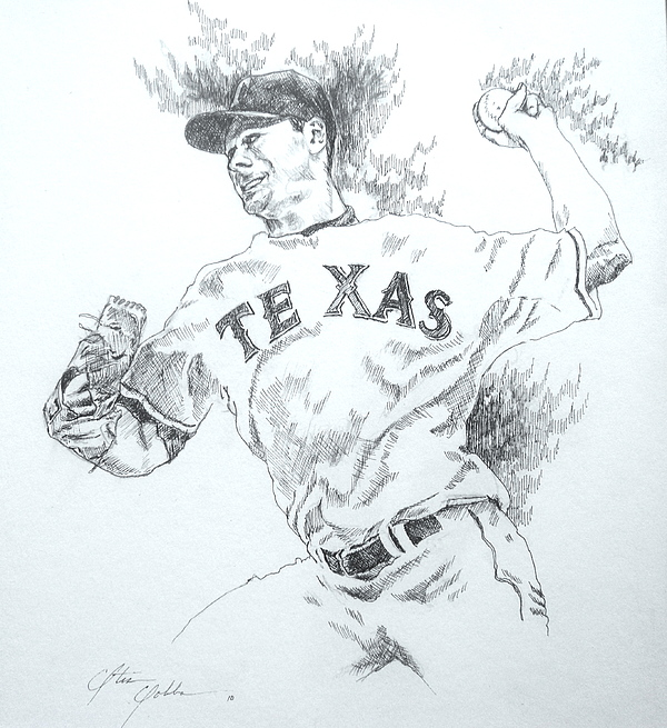 Cliff Lee Drawing - Cliff Lee by Otis  Cobb