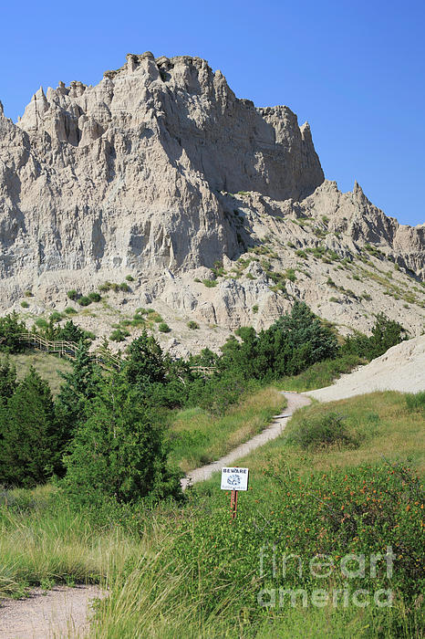 Erosion Photograph - Cliff Shelf Trail In Badlands National Park South Dakota by Louise Heusinkveld