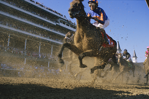 Outdoors Photograph - Close Action Shot Of Horses Racing by Melissa Farlow