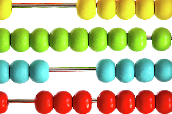 Abacus Photograph - Closeup Of Bright  Abacus Beads On White by Sandra Cunningham