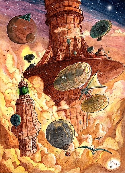 Steampunk Painting - Cloud City by Luis Peres