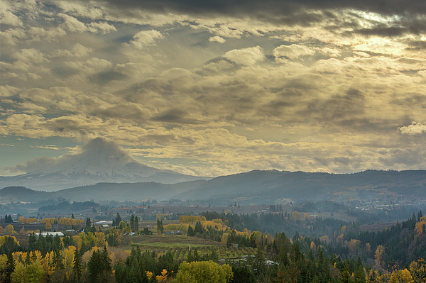 Hood River Photograph - Clouds And Sun Rays Over Mount Hood And Hood River Oregon by David Gn