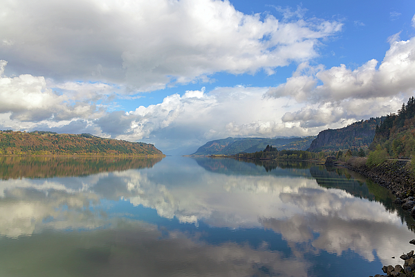 Columbia Photograph - Clouds Reflection On The Columbia River Gorge by David Gn