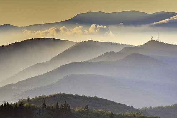 Black Balsam Photograph - Cloudy Layers On The Blue Ridge Parkway - Nc Sunrise Scene by Rob Travis