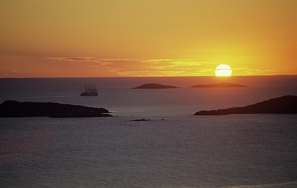 Sailing Photograph - Club Med Sailing Into Sunset by Don Kreuter