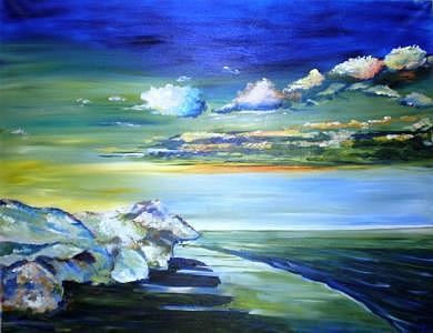 Coast At Sunset Painting by Jenia Tyshchenko