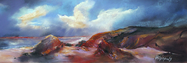 Seascape Painting - Coastal Glow by Rae Andrews