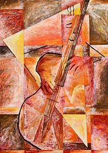 Bass Player Painting - Coaxing The Tone by Tony Romano