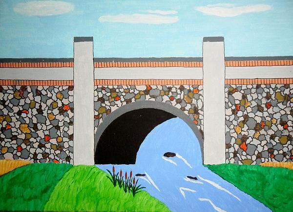 Cobblestone Bridge Painting by Donald Herrick