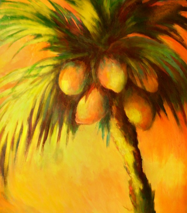 Palm Tree Painting - Coconuts At Sunrise by Joann Shular