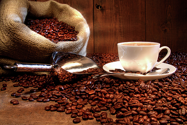 Aroma Photograph - Coffee Cup With Burlap Sack Of Roasted Beans  by Sandra Cunningham