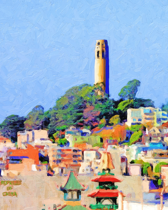 San Francisco Coit Tower Photograph - Coit Tower And The Empress Of China - Photo Artwork by Wingsdomain Art and Photography