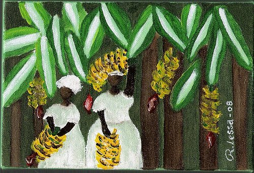 Colhendo Bananas Painting by Rodrigues Lessa