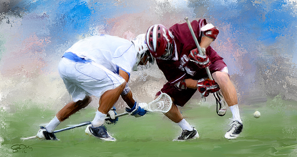 Lacrosse Painting - College Lacrosse Faceoff 4 by Scott Melby