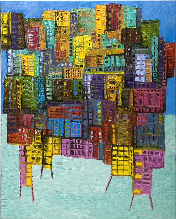 Abstract Cityscape Painting - Collide by Maria Curcic