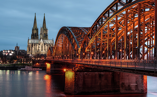 Horizontal Photograph - Cologne Cathedral At Dusk by Vulture Labs