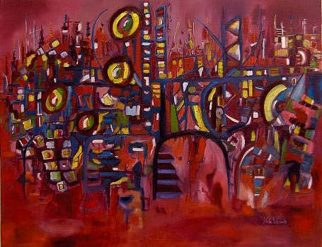 Abstract Figurative Painting - Color Symphony by Nela Vicente