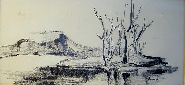 Landscape Drawing - Colorado Pencil Sketch by Judith Redman