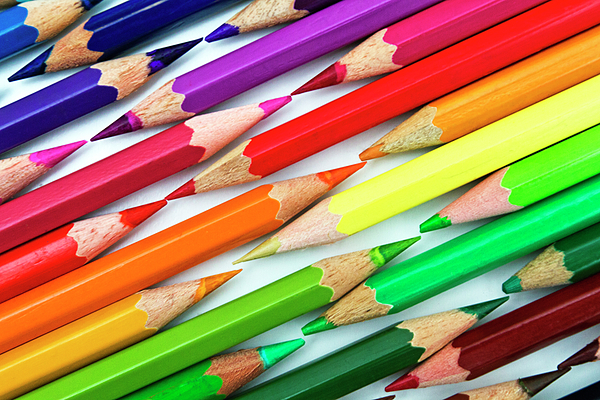 Horizontal Photograph - Colored Pencil Tips by Image by Catherine MacBride