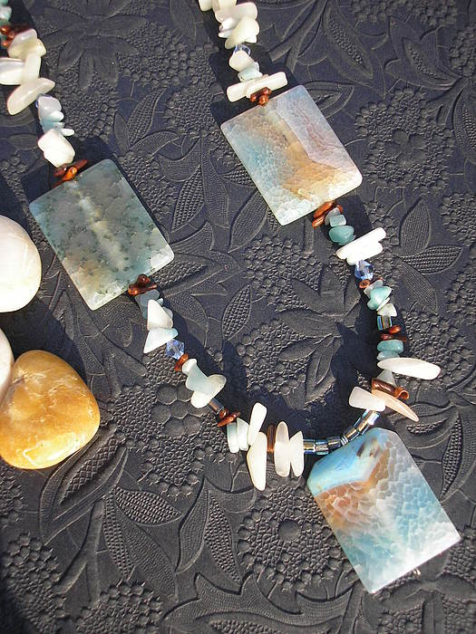 Necklace Jewelry - Colorful Agate Necklace by Angie DElia