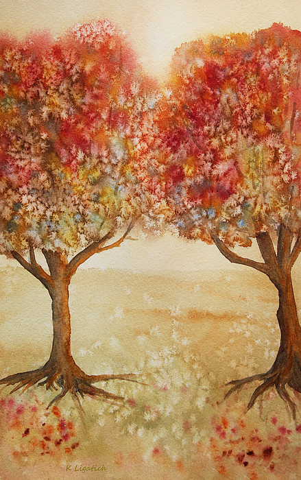 Autumn Trees Painting - Colorful Autumn Twin Trees by Kerri Ligatich