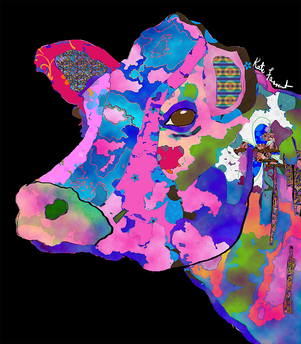 Cow Digital Art - Colorful Bessie The Cow  by Kate Farrant